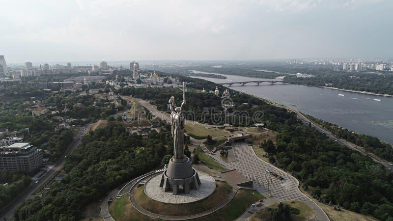 Kyiv - kapitał Ukraina powietrzna fotografia od trutnia Piękny kraj z wielkim i długą historią Kraj europejski _ obrazy royalty free