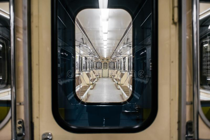 Kyiv metro wagon interior. With no people through the window royalty free stock photography