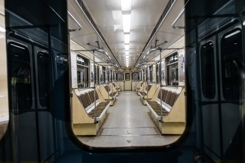 Kyiv metro wagon interior. With no people through the window stock photo