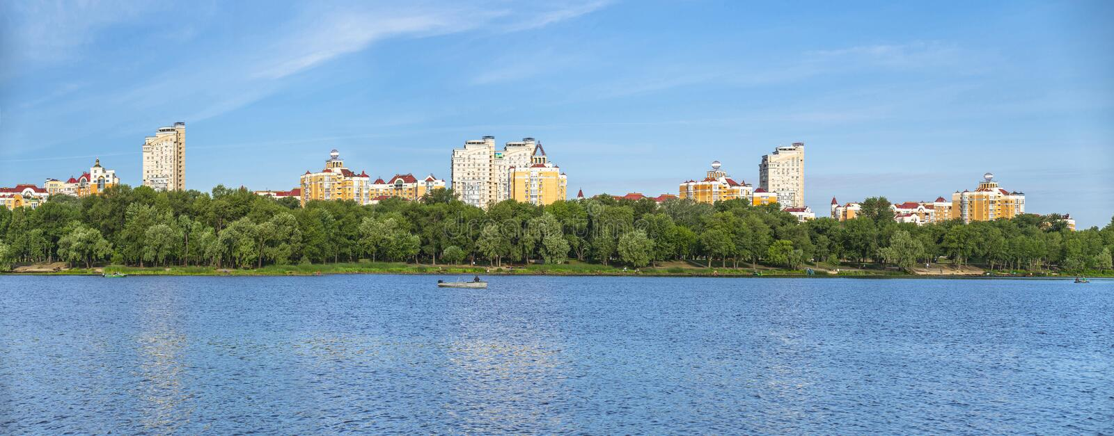Kyiv Obolon embankment. View from water of Dnieper river.  stock images
