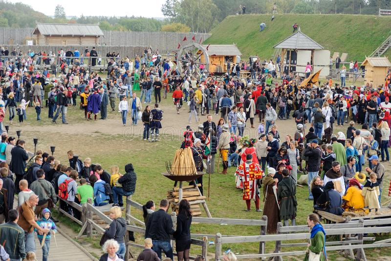Kyiv region, UA, 24-09-2011. Crowd of people at the festival, top view. Costume Recreation Park Kyivan Rus of medieval period Kyiv stock photo