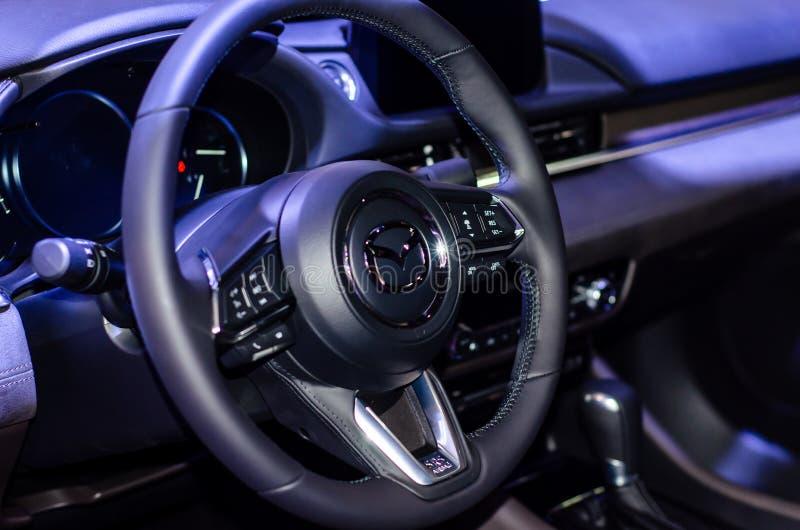 Kyiv, Ucrânia - 12 de abril de 2019: Interior do carro de Mazda 6 imagem de stock royalty free