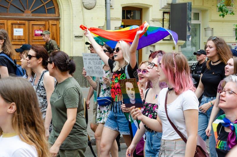 Kyiv, Ucrânia - 23 de junho de 2019 março da igualdade março KyivPride de LGBT Parada alegre imagens de stock