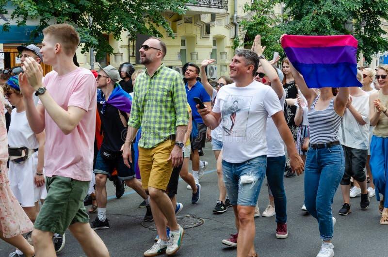 Kyiv, Ucrânia - 23 de junho de 2019 março da igualdade março KyivPride de LGBT Parada alegre foto de stock royalty free