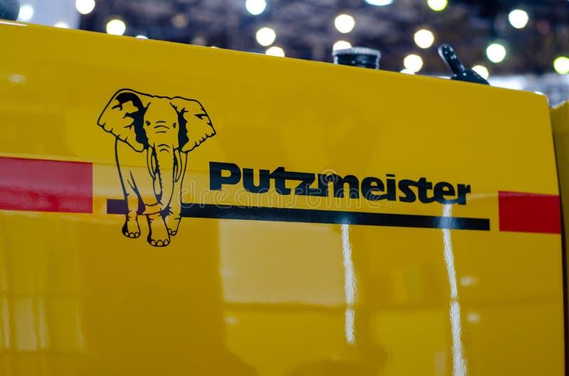 Kyiv, Ucrânia - 20 de março de 2019: Logo Putzmeister Putzmeister é um fabricante alemão de bombas concretas foto de stock