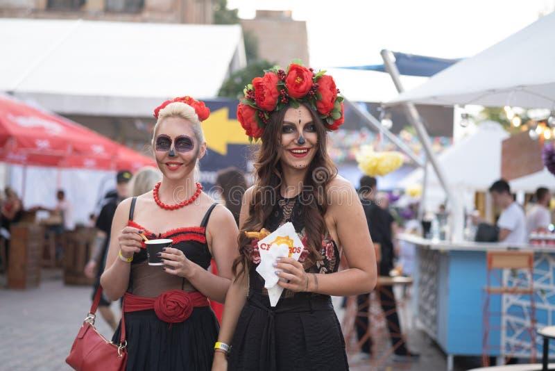 Kyiv, Ucrânia, Santa Muerte Carnival, 20 07 2019 Dia de Los Muertos, dia dos mortos Halloween Retrato de Calavera foto de stock