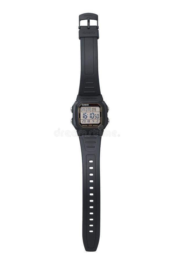 KYIV, UCRÂNIA - 2 de abril de 2018, relógio eletrônico de Casio fotos de stock