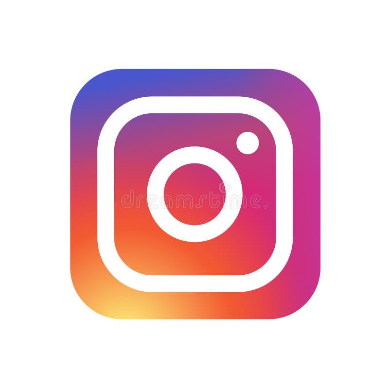 KYIV, UCRÂNIA - 31 de maio de 2018 - ícone novo do logotipo da câmera de Instagram com projeto moderno do inclinação Instagram é  ilustração royalty free