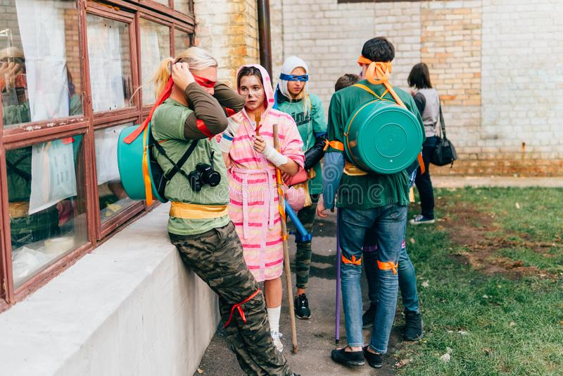 KYIV, UCRÂNIA - 9 DE SETEMBRO DE 2018: Mutante adolescente Ninja Turtles imagem de stock