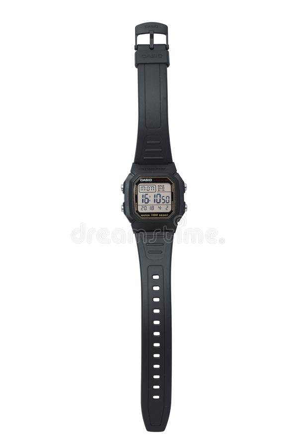 KYIV, UCRAINA - 2 aprile 2018, orologio elettronico di Casio fotografie stock