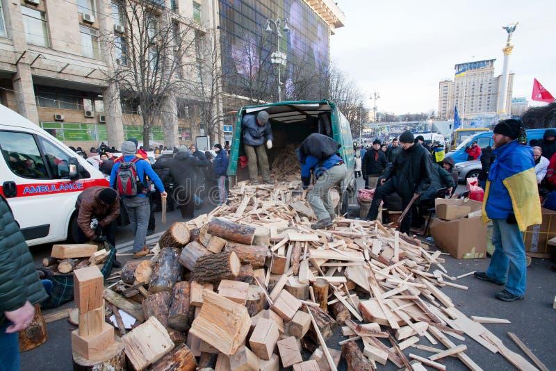 KYIV, UCRAINA: La gente raccoglie il legno per i fuochi, occupante il quadrato principale di Maidan per la dimostrazione antigover immagine stock libera da diritti