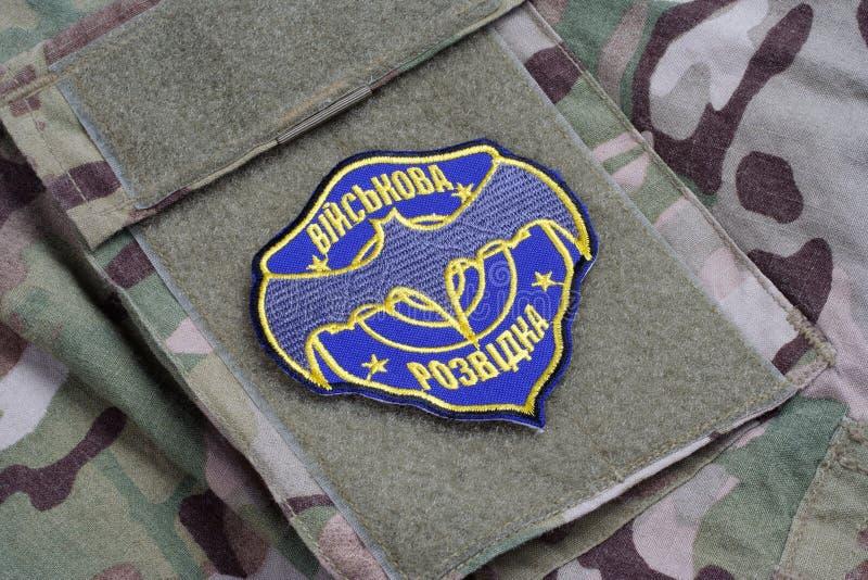 KYIV, UCRAINA - 16 luglio, 2015 Distintivo dell'uniforme del servizio segreto militare dell'Ucraina fotografie stock libere da diritti