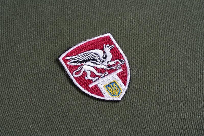 KYIV, UCRANIA - julio, 16, 2015 El ministerio de los asuntos internos (Ucrania) - insignia uniforme de la unidad de Grifon en el  fotografía de archivo libre de regalías