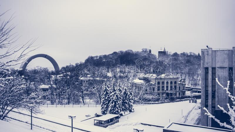 Kyiv Ukraina, aftonstad Cityscape stads- arkitektur arkivbild