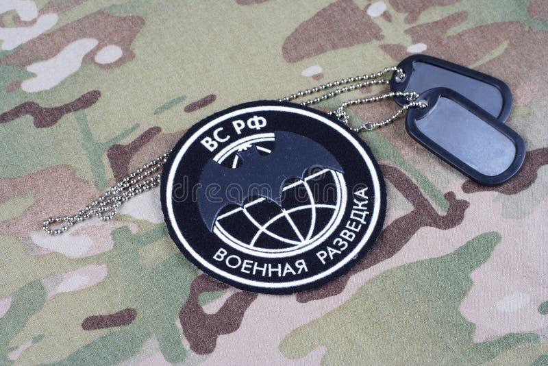 KYIV UKRAINA - Augusti 19, 2015 För huvudsaklig Ryssland intelligensdirektörsbefattning för GRU enhetligt emblem fotografering för bildbyråer