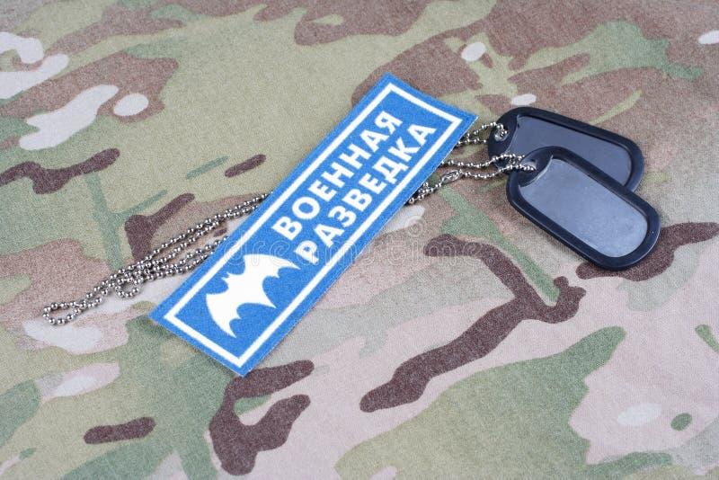 KYIV UKRAINA - Augusti 19, 2015 För huvudsaklig Ryssland intelligensdirektörsbefattning för GRU enhetligt emblem arkivfoton
