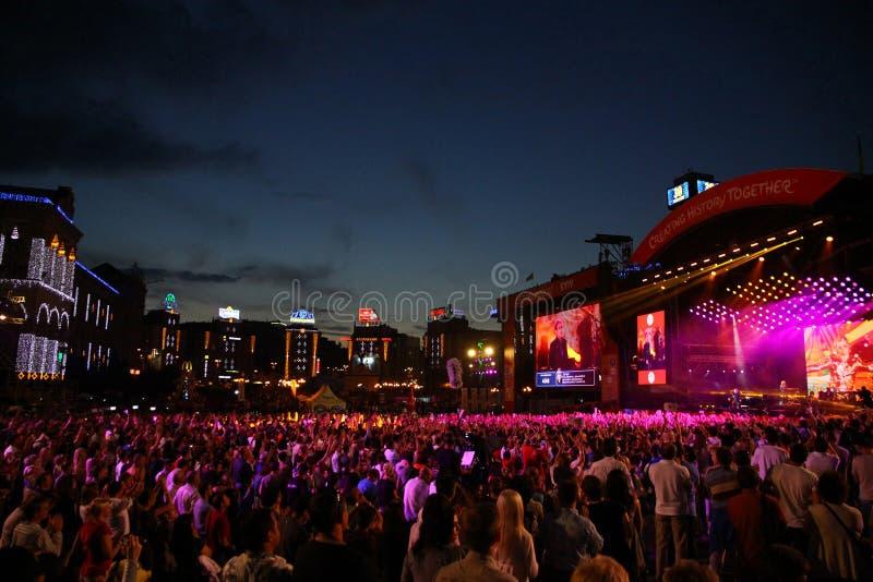 Dobroczynność pomocy koncert przy niezależność kwadratem w Kyiv zdjęcie royalty free