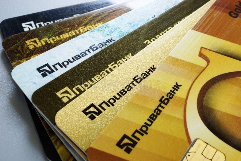 Kyiv, Ukraina Czerwiec 05 2019 Privatbank karty kredytowe Privat bank obrazy royalty free