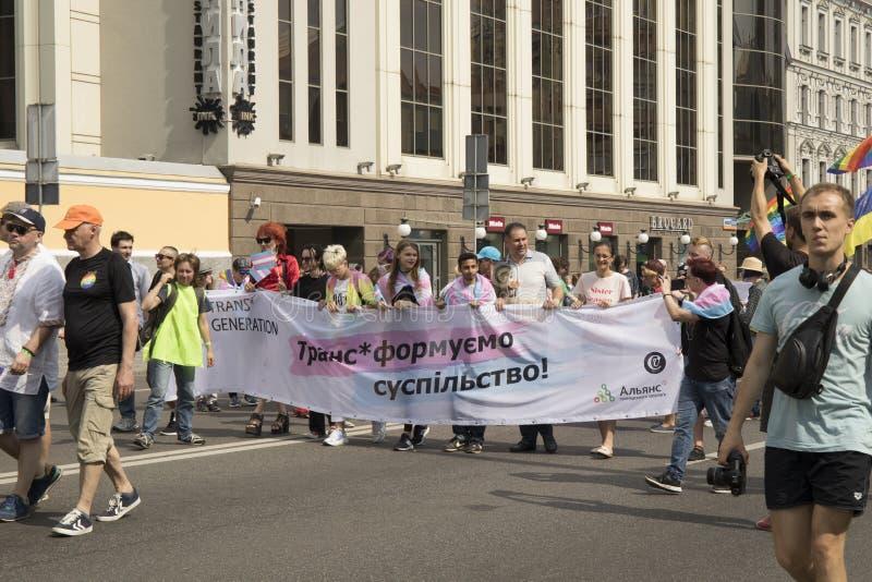 Kyiv, Ukraina Czerwiec 23, 2019 Roczna dumy parada LGBT Wpisowy Trans pokolenie społeczeństwo obrazy stock
