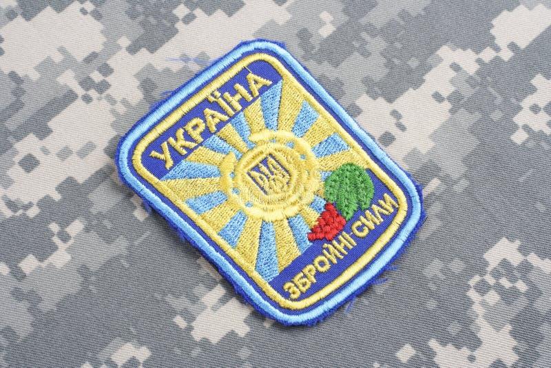 KYIV UKRAINA - Juli, 16, 2015 Enhetligt emblem för Ukraina flygvapen arkivbild