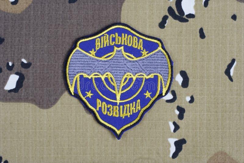 KYIV UKRAINA - Juli, 16, 2015 Enhetligt emblem för Ukraina militär underrättelse arkivfoto