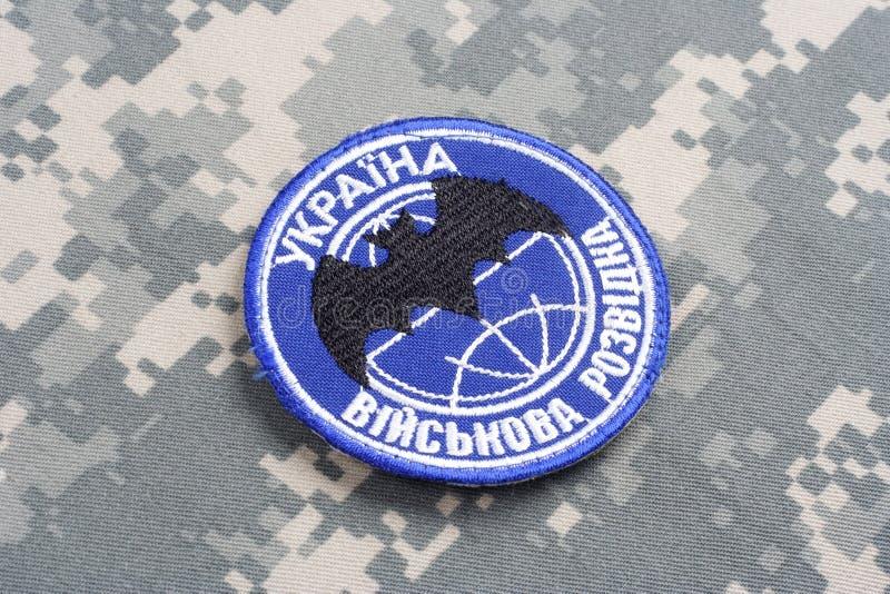 KYIV UKRAINA - Juli, 16, 2015 Enhetligt emblem för Ukraina militär underrättelse royaltyfri fotografi