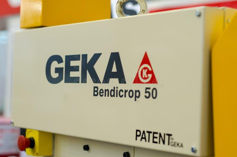 Kyiv Ukraina, Listopad, - 22, 2018: Geka Bendicrop 50 ślusarza hydrauliczna maszyna obraz stock