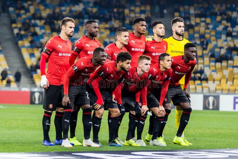 Kyiv Ukraina, Listopad, - 8, 2018: Stade Rennais drużyny fotografia przed rozpoczęciem uefa europa league dopasowania przeciw dyn fotografia stock