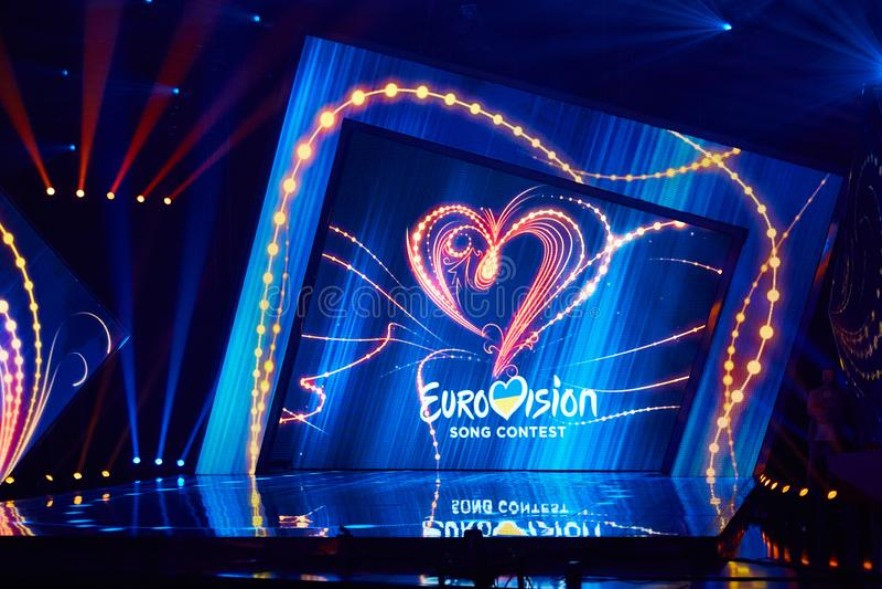 KYIV UKRAINA, LUTY, - 23, 2017: Logo Eurowizyjni 2017 krajowych wyborów podczas Eurovision-2017 zdjęcia royalty free