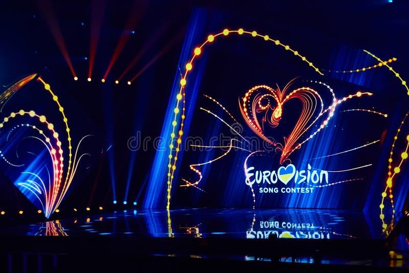 KYIV UKRAINA, LUTY, - 23, 2017: Logo Eurowizyjni 2017 krajowych wyborów podczas Eurovision-2017 obraz royalty free