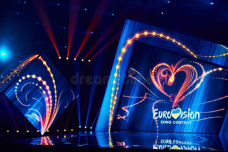KYIV UKRAINA, LUTY, - 23, 2019: Logo Eurowizyjni 2019 krajowych wyborów podczas Eurovision-2019 fotografia royalty free