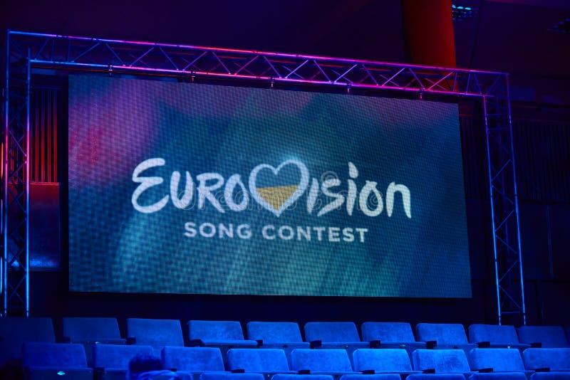 KYIV UKRAINA, LUTY, - 23, 2017: Logo Eurowizyjni 2017 krajowych wyborów podczas Eurowizyjny 2017 zdjęcia royalty free