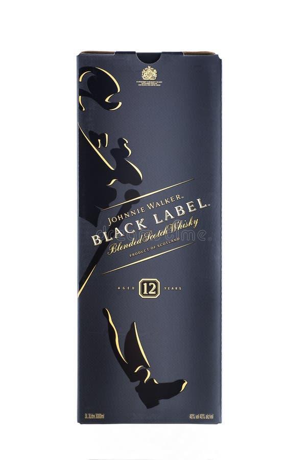 Kyiv Ukraina - Maj, 2019 Ask av skotsk whisky Johnnie Walker Black Label royaltyfri bild