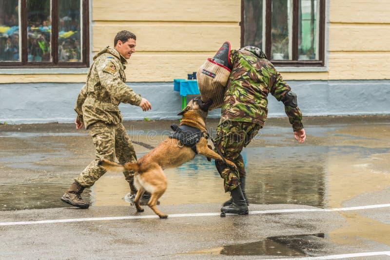 KYIV UKRAINA - Maj 26, 2017: Ceremoni på tillfället av slutet av studieåret i Kiev den militära lyceumen av Ivan Bohun arkivfoton