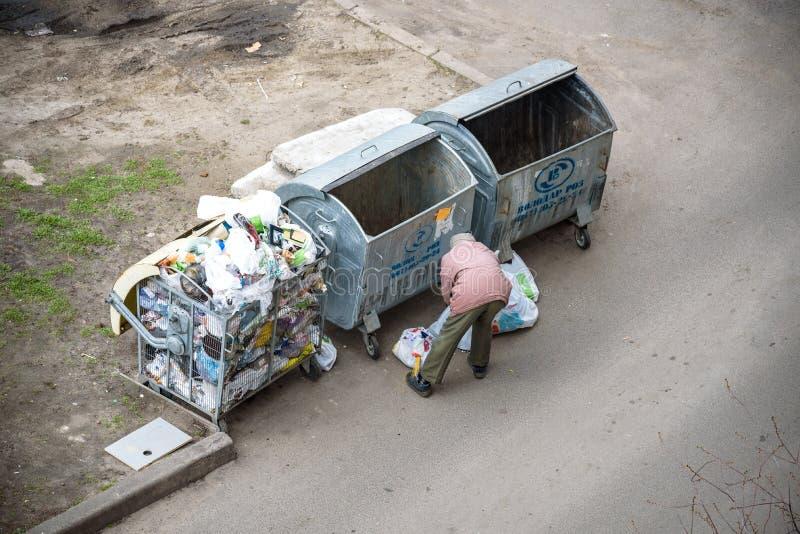 KYIV UKRAINA MARS 31, 2019: En hemlös man som söker efter mat i en avskrädedumpster stads- armod royaltyfri bild