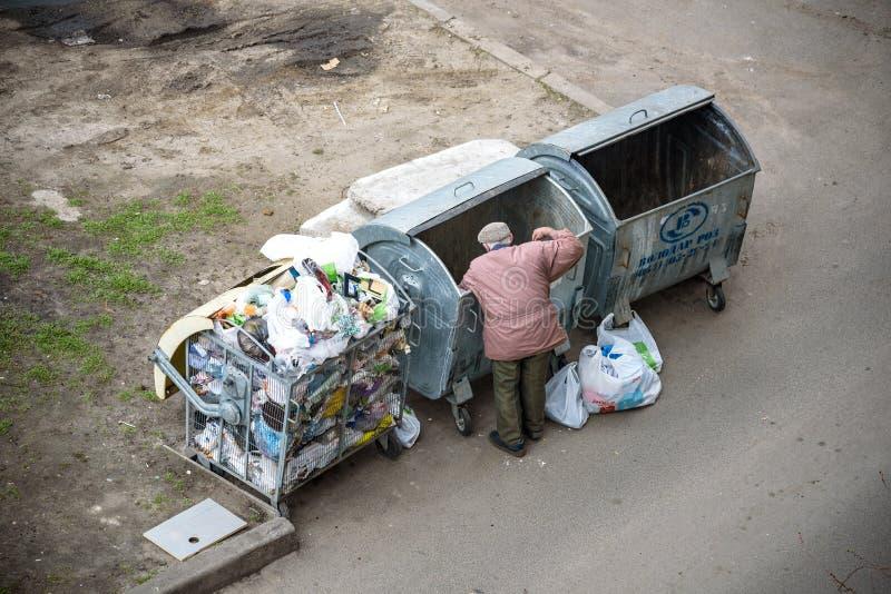 KYIV UKRAINA MARS 31, 2019: En hemlös man som söker efter mat i en avskrädedumpster stads- armod arkivfoto