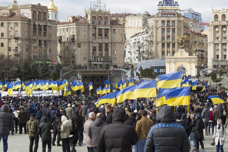 Kyiv Ukraina - 23 Marzec 2019: polityczny protest przeciw rzędowi w centre kapitał Ukraina zdjęcia royalty free