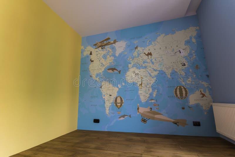 Kyiv Ukraina - November 14, 2017: Inre av nytt rum efter beträffande royaltyfria foton