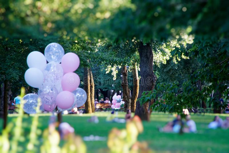 Kyiv, Ukraina -, 11 08 2018: Różowy balon w jesieni polu Śmieszny nastrój, przygotowywa dla świętować, wakacyjny wydarzenia lub p obraz royalty free
