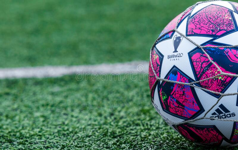 KYIV, UKRAINE — March 03 12, 2020: Official match ball of UEFA Champions League season 2019/20 Final Istanbul Adidas. On the grass before the game stock photos