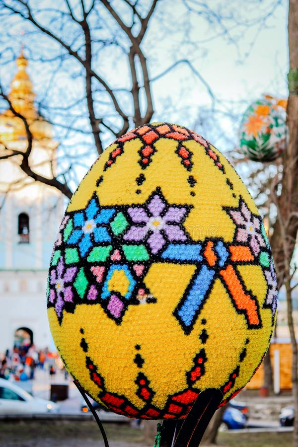 KYIV, UKRAINE - APRIL 7, 2018: Easter exhibition Festival on Sofievska Square, colorful Easter egg decorated with mosaic pieces by royalty free stock images