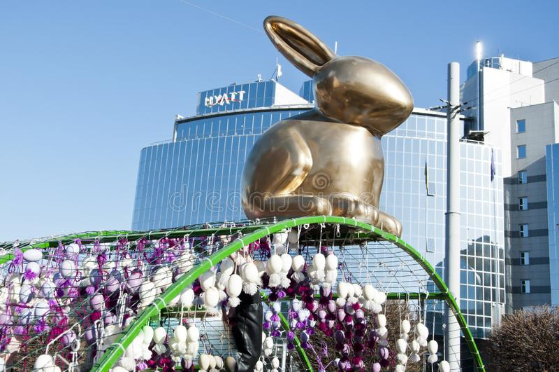 KYIV. UKRAINE - APRIL 05, 2017: Easter festival in Kyiv on Sofiyvska Square. Artists display painted Easter egg, golden rabbit. stock images