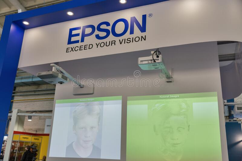 Epson booth at CEE 2019 in Kyiv, Ukraine royalty free stock photos