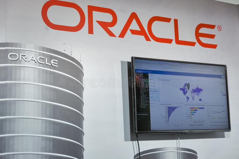 Oracle booth at CEE 2019 in Kyiv, Ukraine royalty free stock images