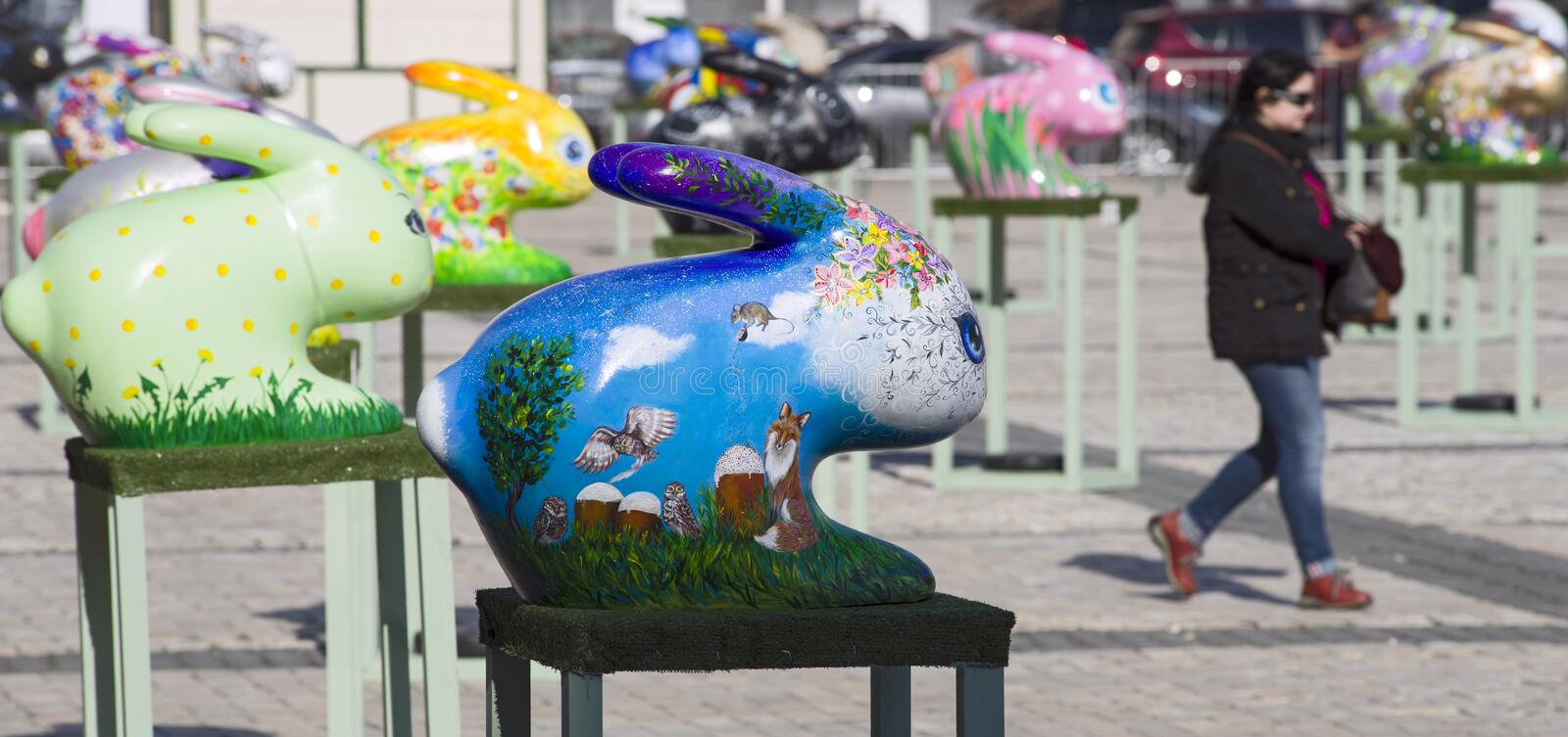 Easter bunnies painted by the hands masters-painters from all Ukrainian regions. Kyiv / Ukraine - April 4, 2018: The Ukrainian pysanky festival. Easter bunnies stock photos