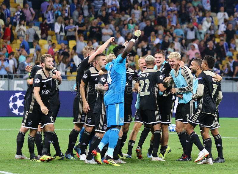 UEFA Champions League play-off: FC Dynamo Kyiv v Ajax. KYIV, UKRAINE - AUGUST 28, 2018: AFC Ajax players celebrate the reach of group stage after the UEFA stock photo