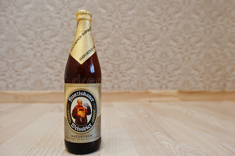 Kyiv, Ukraine -29 August 2016: Franziskaner weissbier.  royalty free stock images