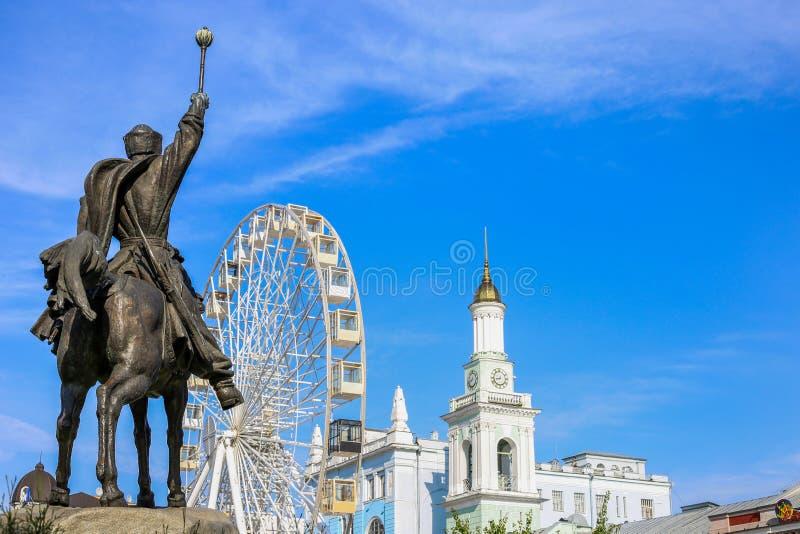 Kyiv, Ukraine - August, 2019: Monument to Peter Sagaidachny in Kiev. Contract area. Beautiful patriotic photo in Ukraine stock photography