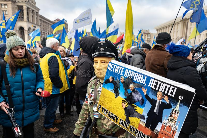 Rally against surrender on the Independence Square in Kyiv stock photography