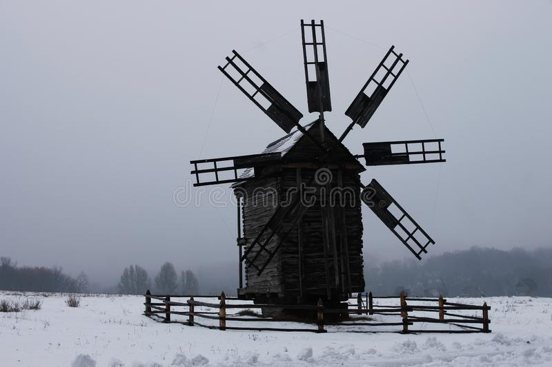 Ukrainian windmill in the museum of national architecture stock photography